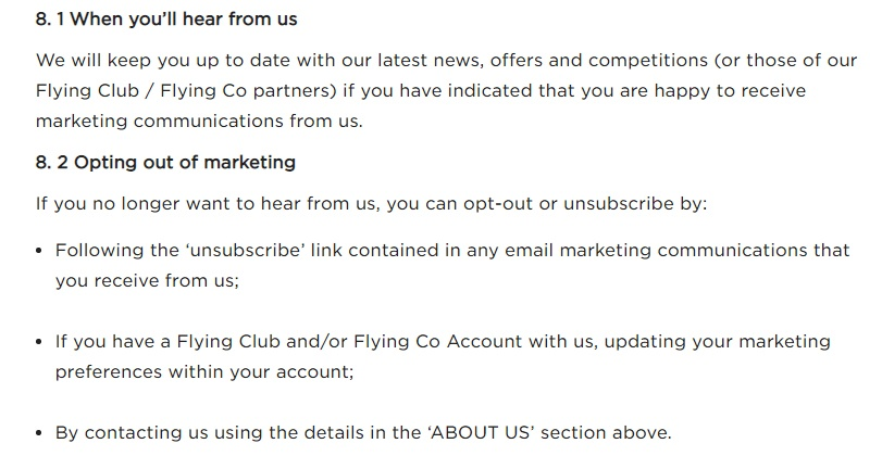 Virgin Atlantic Privacy Policy: Marketing clause opt-out excerpt