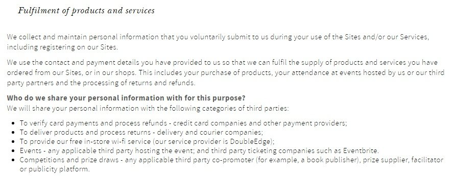 Waterstones Privacy Policy: Fulfilment of Products and Services clause