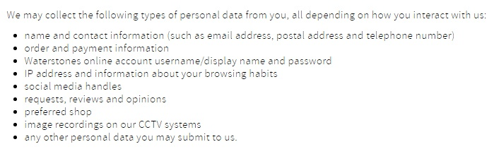 Waterstones Privacy Policy: What personal information do we collect clause