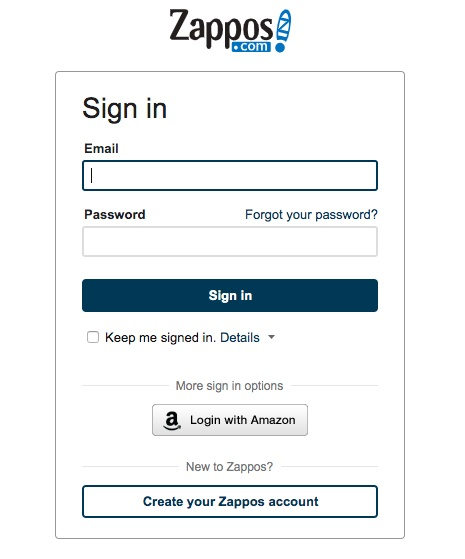 Zappos create an account form
