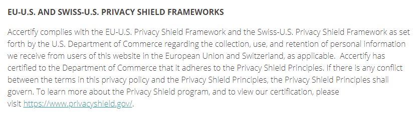 Accertify Privacy Statement: EU-US and Swiss-US Privacy Shield Frameworks clause