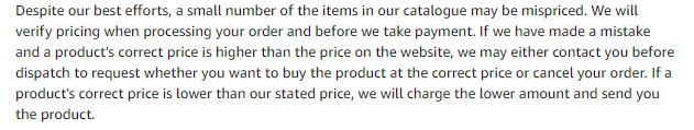 Amazon UK Conditions of Use and Sale: Mispriced Items clause