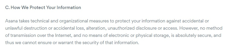 Asana Privacy Policy: How We Protect Your Information clause