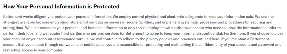 Betterment Privacy Policy: How Your Personal Information is Protected clause