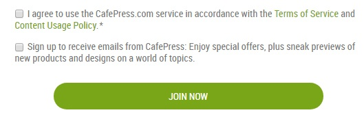 Cafepress Create Account form with Agree checkboxes