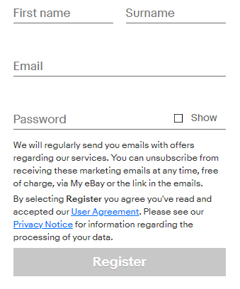 eBay UK Register Account form