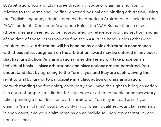 Etsy Terms of Use: Arbitration clause