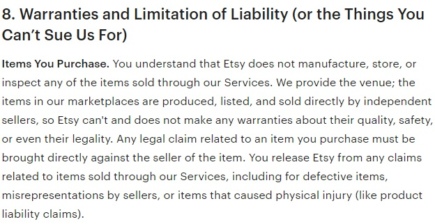 Etsy Terms of Use: Warranties and Limitation of Liability - Items You Purchase clause
