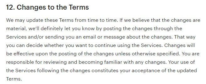Etsy UK Terms of Use: Changes to these Terms clause