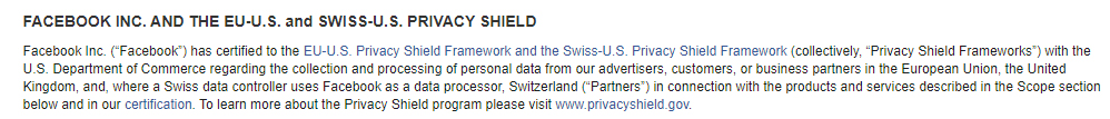 Facebook: EU-US and Swiss-US Privacy Shield clause