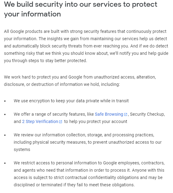 Google Privacy Policy: Data security clause