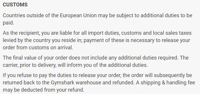 Gymshark UK Terms and Conditions: Customs clause