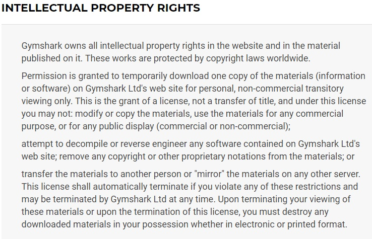 Gymshark UK Terms and Conditions: Intellectual Property Rights clause