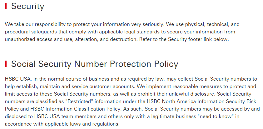 HSBC Privacy Statement: Security and Social Security Number Protection Policy clauses