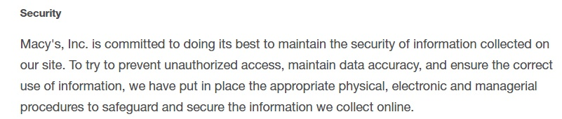 Macys Privacy Policy: Security clause