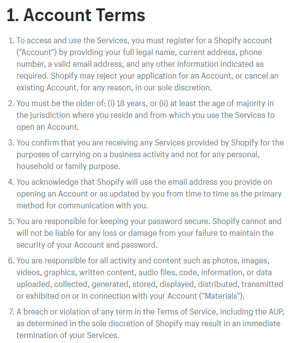 Shopify Terms of Service: Account Terms clause