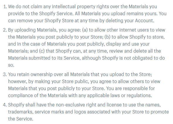 Shopify Terms of Service: Intellectual Property and Customer Content clause