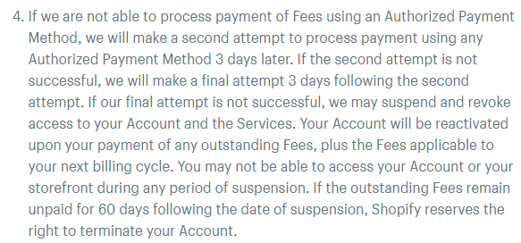 Shopify Terms of Service: Excerpt of Payment and Fees clause - Suspend account