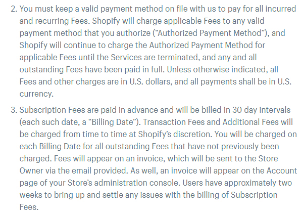 Shopify Terms of Service: Excerpt of Payment and Fees clause - Payment method and Subscription Fees