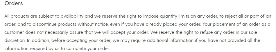 Society6 Terms of Service: Orders clause