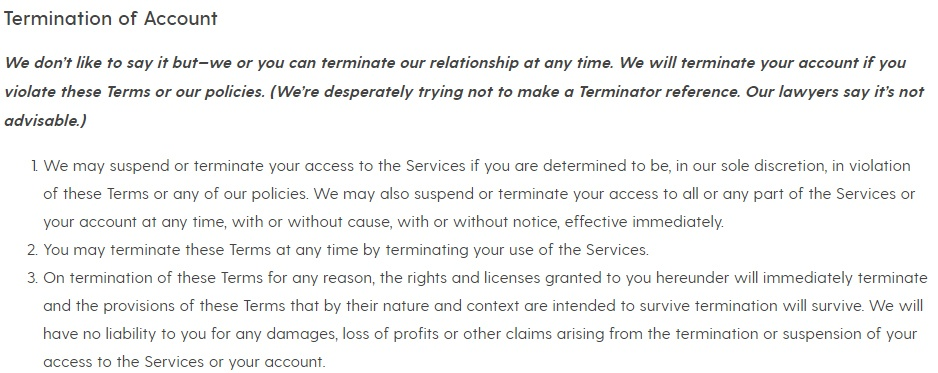 Society6 Terms of Service: Termination of Account clause