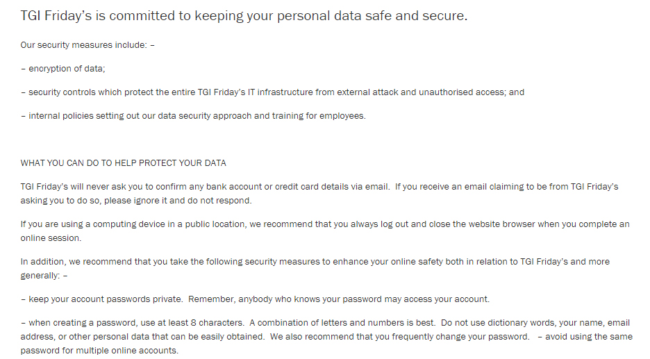 TGI Fridays Privacy Policy: Data Security clause