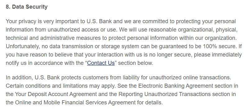 US Bank Privacy and Security Policy: Data Security clause