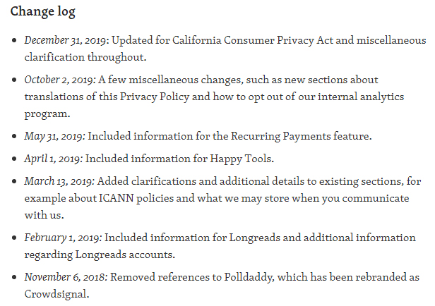 Automattic Privacy Policy: Change Log clause