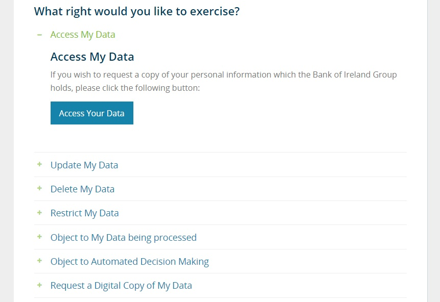 Bank of Ireland Data Subject Rights: What right would you like to exercise menu