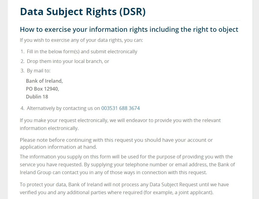 Bank of Ireland Data Subject Rights: How to exercise rights instructions
