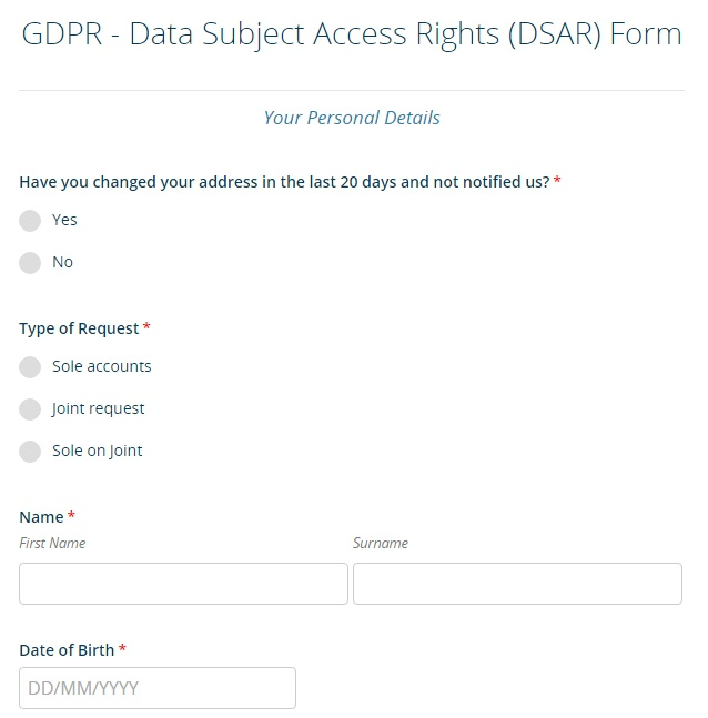 Bank of Ireland: Excerpt of GDPR DSAR form