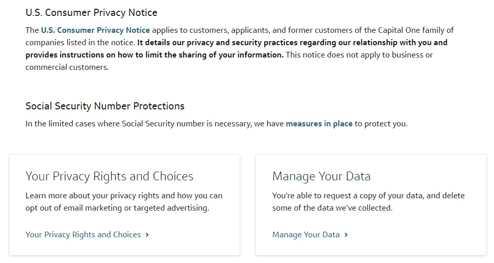 Screenshot of excerpt of Capital One Privacy Center