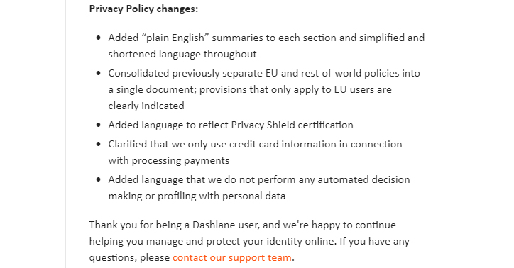 Screenshot of Dashlane email with notice of changes to Privacy Policy - List of changes section