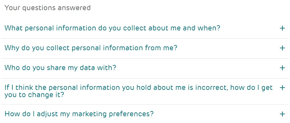 EE UK Privacy Center: Your Questions Answered section