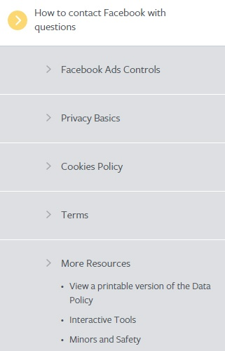 Facebook Data Policy: Resource links in sidebar