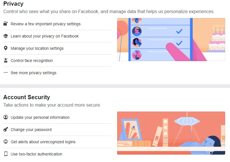 Screenshot of Facebook's Manage Privacy and Account Security settings page