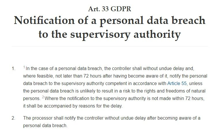 GDPR Info: Article 33 - Notification of a personal data breach to the supervisory authority excerpt