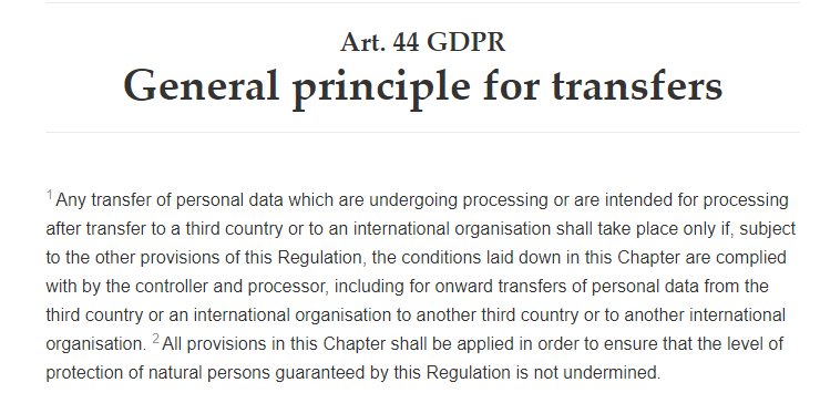 GDPR Info: Article 44 - General principle for transfers