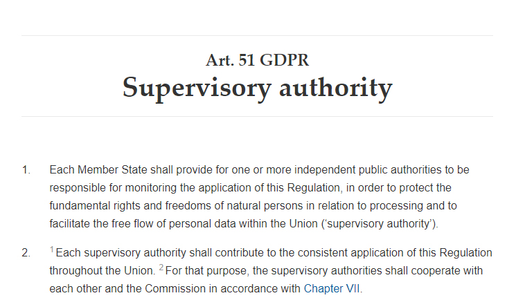 GDPR Info: Article 51 - Supervisory authority excerpt