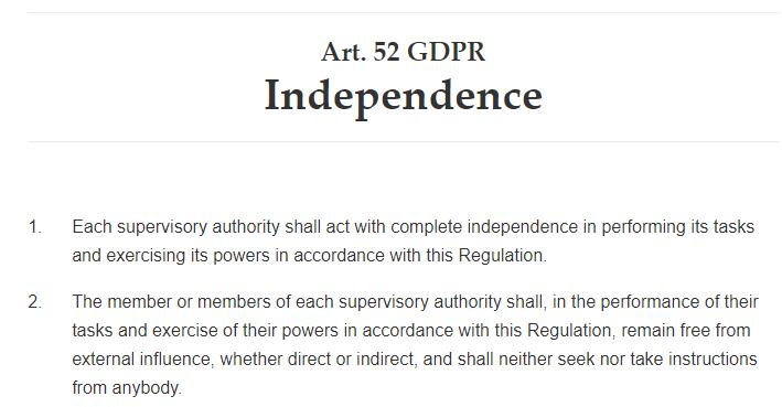 GDPR Info: Article 52  Independence excerpt