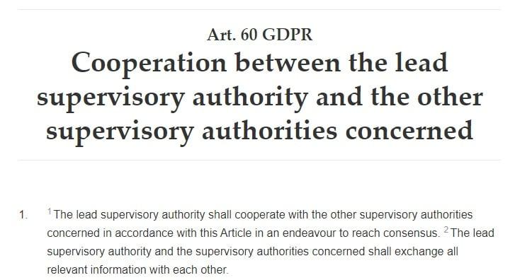 GDPR Info: Article 60 - Cooperation between supervisory authorities excerpt