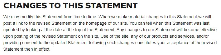 Hilton Privacy Statement: Changes to this Statement clause