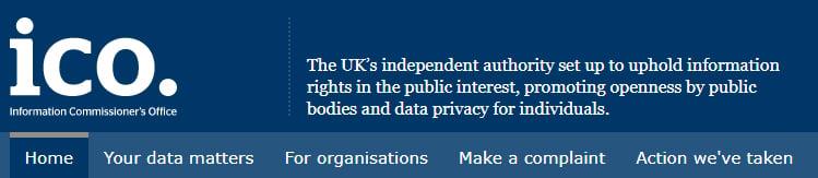 Screenshot of ICO website header and menu