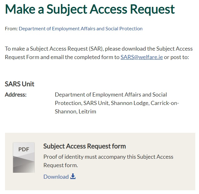 Ireland Dept of Employment Affairs and Social Protection: Subject Access Request page