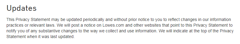 Lowe's Privacy and Security Statement: Updates clause