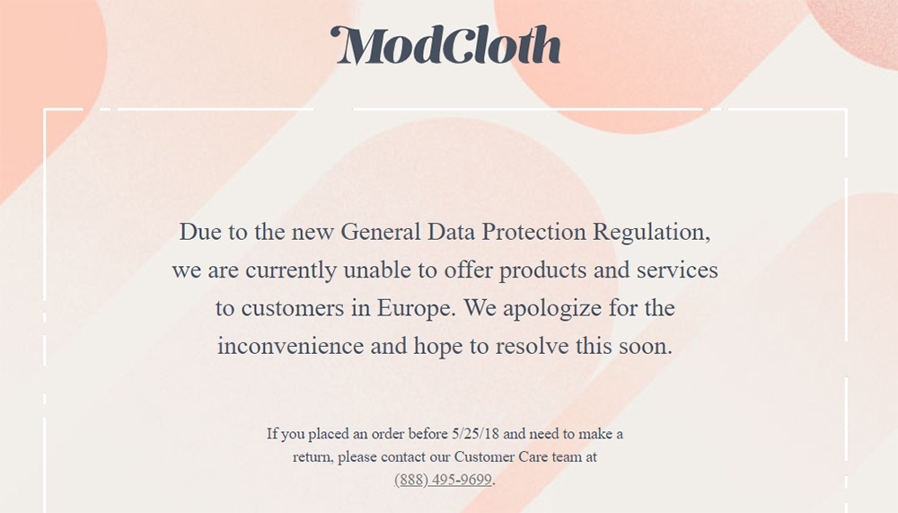 ModCloth: Notification that because of GDPR, EU visitors are blocked