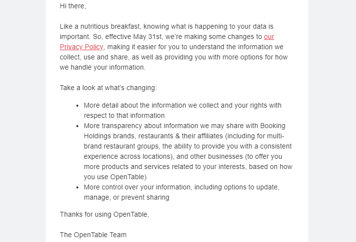 Screenshot of OpenTable email with notice of changes to Privacy Policy