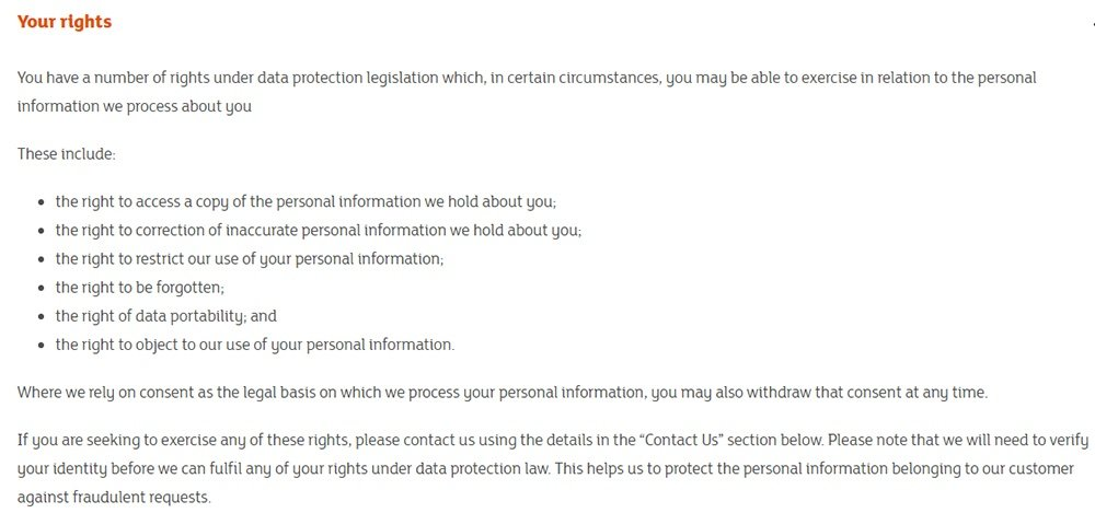 Sainsbury's Privacy Policy: Your rights clause
