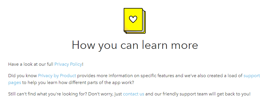 Snap Privacy Center: Contact us section