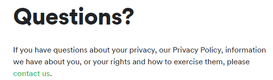 Spotify Privacy Center: Contact with questions section